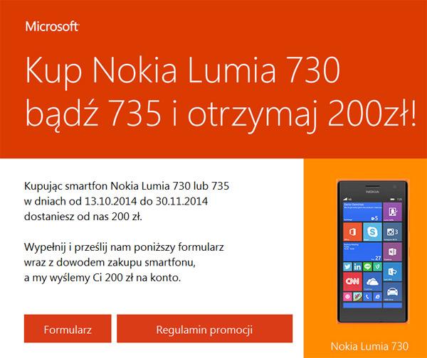 Nokia Lumia 730 lub 735 – zwrot 200 zł