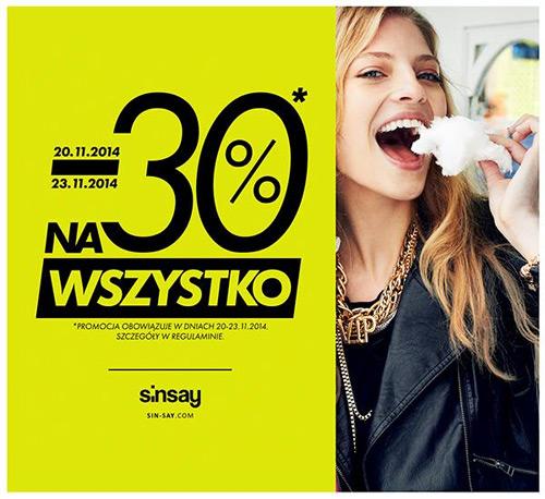 Sinsay rabat 30% na wszystko