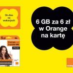 Orange – wakacyjny pakiet internetowy 6 GB za 6 zł