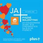 Kupon 20 zł na Pyszne.pl do doładowania Plus na walentynki