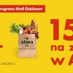 Zatankuj na Shell i odbierz 15 zł na zakupy w Alma