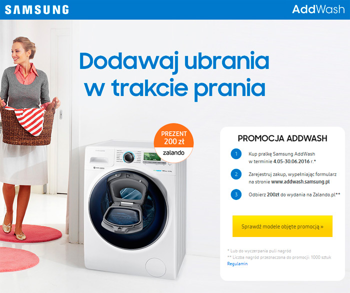 Samsung AddWash – prezent 200 zł do Zalando