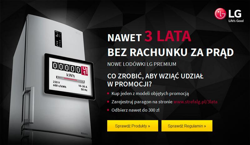 Lodówki LG Premium – promocja nawet 3 lata bez rachunku za prąd