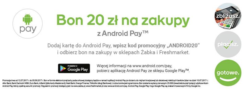 Promocja Android Pay – bon 20 zł na zakupy w Żabka lub Freshmarket