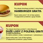 Hamburger lub duże lody z polewą gratis w McDonald's