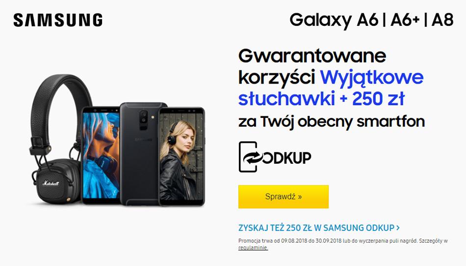 Samsung Galaxy A6 lub A8 słuchawki Marshall w prezencie