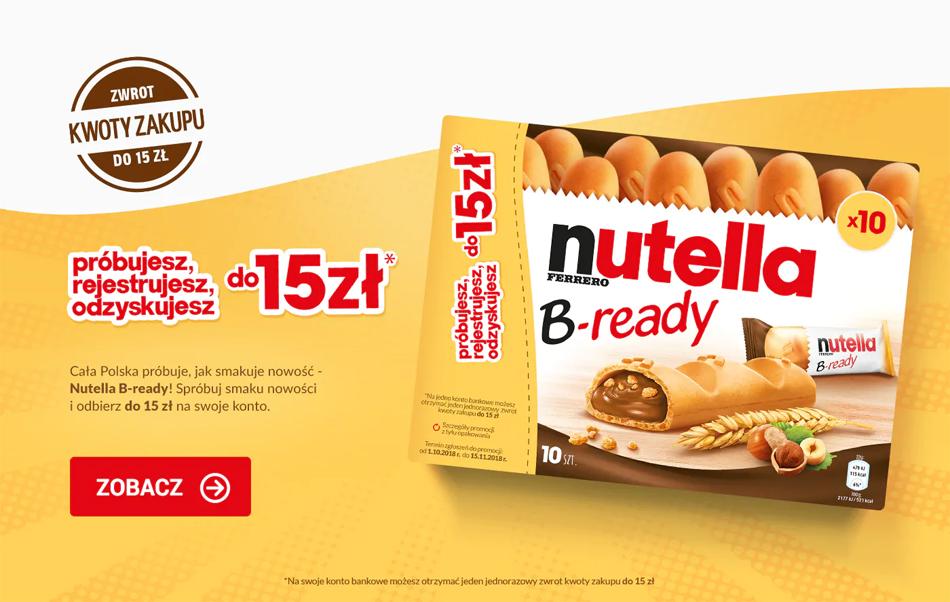 Promocja Nutella B-ready – zwrot gotówki do 15 zł