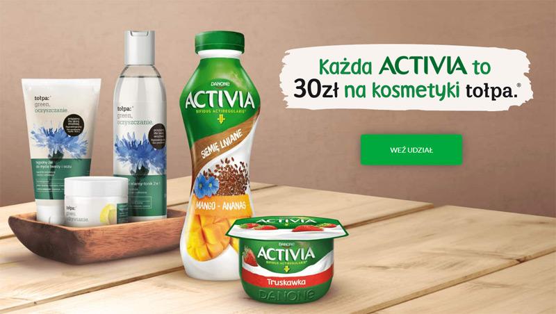 Promocja Activia: rabat 30 zł na kosmetyki tołpa